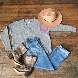    MADEWELL    gray crop Marino & yak hair sweater